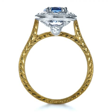 custom two tone halo engagement ring 1178