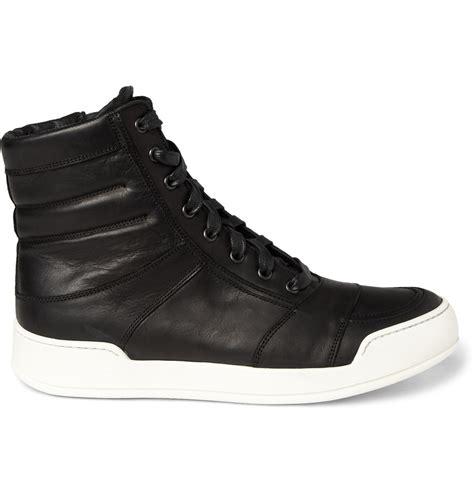 black high top leather sneakers balmain leather high top sneakers in black for lyst