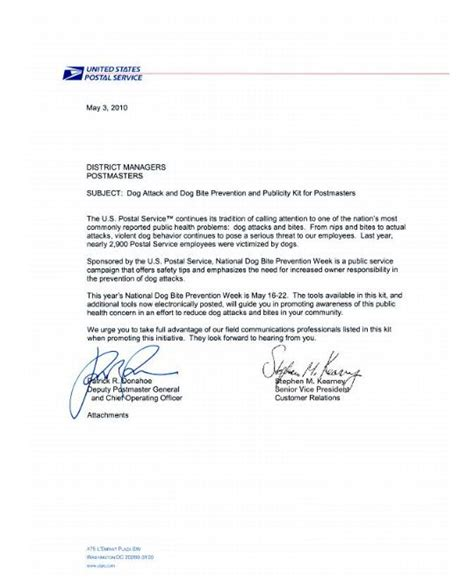 cover letter for postal service national bite prevention week may 16 22 2010