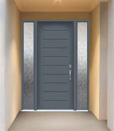Exterior Entry Doors With Glass Modern Exterior Front Doors With Frosted Glass Sidelite And Gray Stained Teak Wood Door Panel