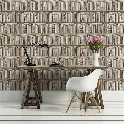 library wallpaper design uk muriva book shelf case pattern library vintage motif