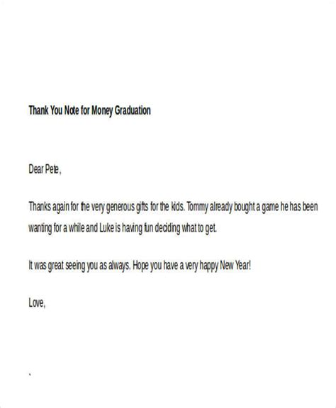 Thank You Note Template Graduation sle thank you note for money 7 exles in word pdf