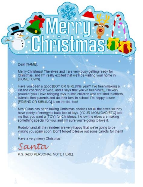 cute ms word santa letter template christmas letter