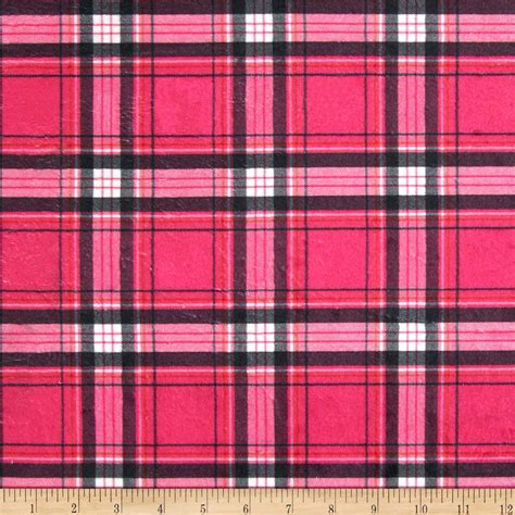 plaid design minky new plaid hot pink black discount designer fabric