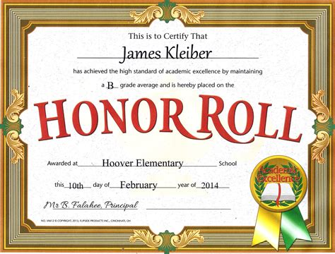 honor roll certificate template word the kleibers welcome