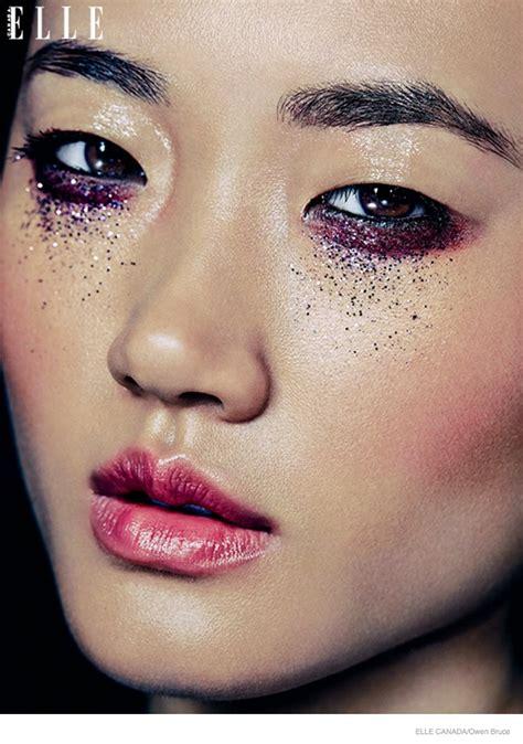 emma ashley model glittery holiday makeup   elle