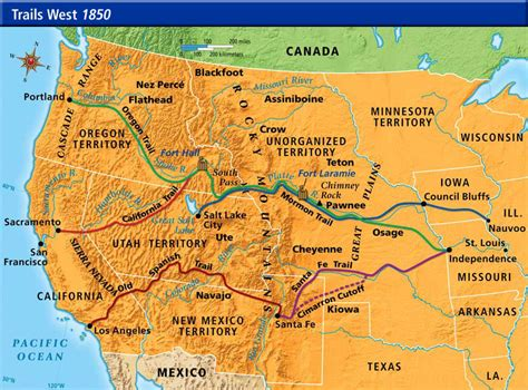 westward expansion map trails west westward expansion