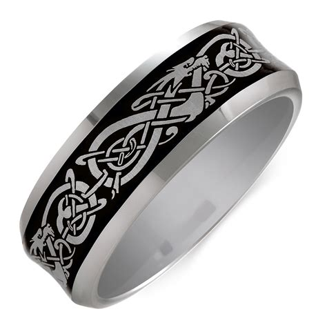 s celtic ring in grey tungsten