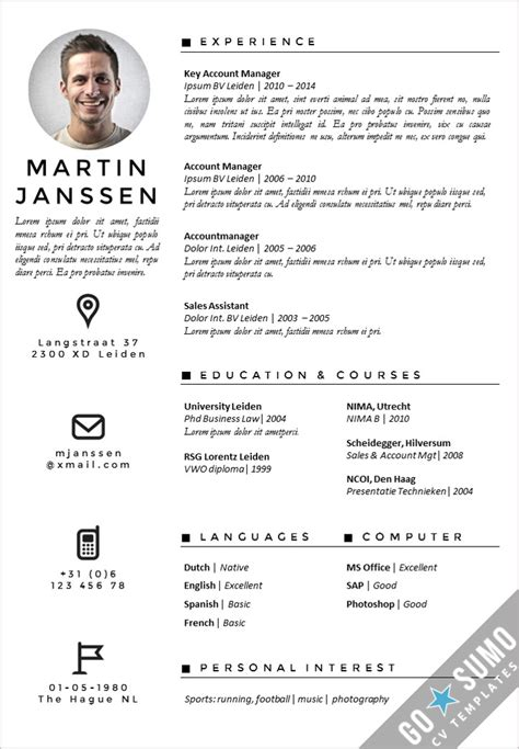 What Is The Best Resume Font Size And Format by Cv Template Antwerp Go Sumo Cv Template