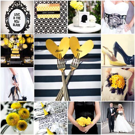 black white yellow  blushing bride