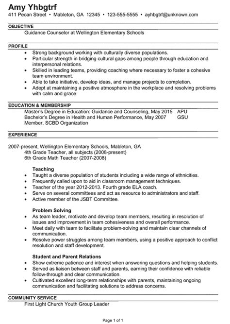 counselor resume objective resume exle for a guidance counselor susan ireland