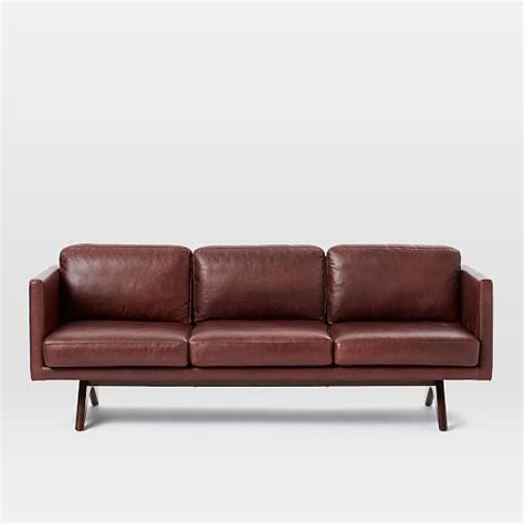 couch brooklyn brooklyn leather sofa 81 quot west elm