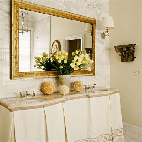 gold mirror bathroom greek key skirted vanity transitional bathroom grant