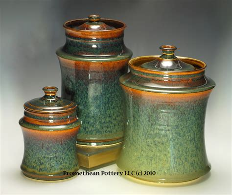 Green Kitchen Canister Set Pottery Pictures Promethean Pottery