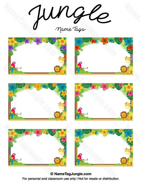 printable zoo animal name tags printable jungle name tags