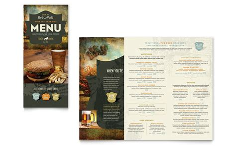 bar food menu templates brewery brew pub take out brochure template design