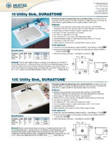 mustee 10c utility sink e l mustee sons product literature