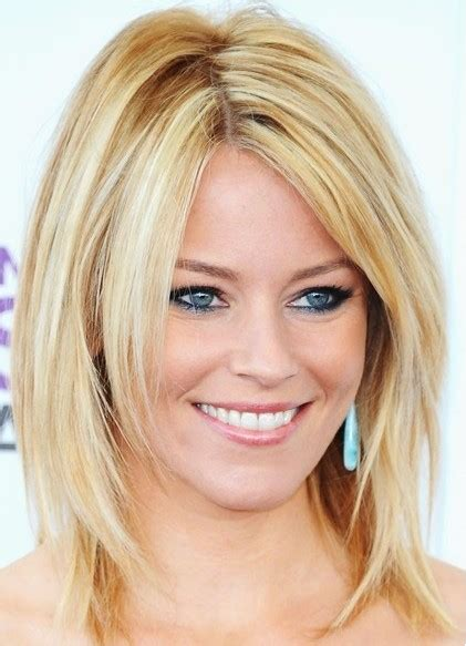 Medium length hair blonde smooth straight hairstyle popular haircuts