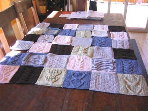 Patchwork Blanket Knitting Pattern - blue sky organic cotton patchwork blanket knitting