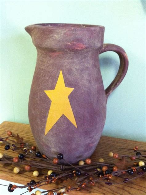 home decor ceramics decorative pitcher with star rustic home decor water