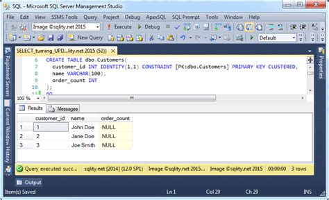 the sql server gem update from select sqlity net