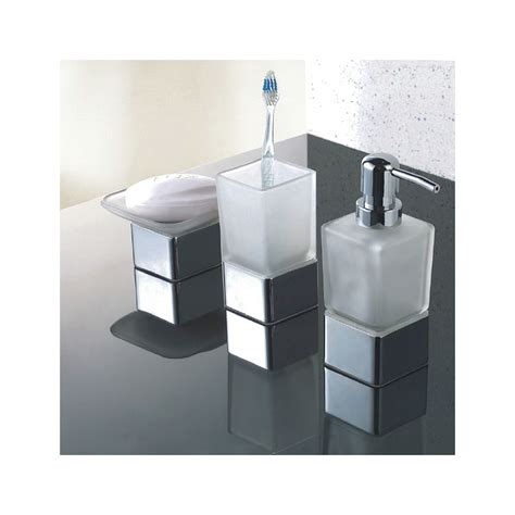 Bathroom Soap Accessories Modern Frosted Glass Chrome Bathroom Accessories Pack Soap Dish Tumbler Dispenser