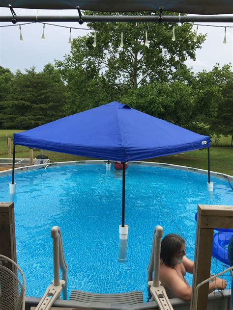 pool awning diy floating canopy pool shade 2 long 4 quot pvc pipe capped