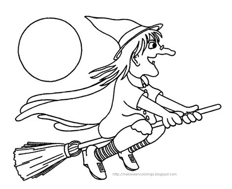 witch broomstick coloring page halloween colorings