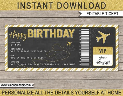 flight ticket template gift printable boarding pass birthday gift ticket plane