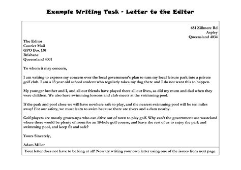 Write Letter Exles Writing A Letter To The Editor Format Best Template Collection