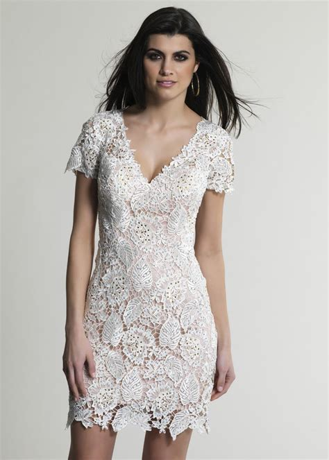 Simple Capture Sleeve white sleeve lace cocktail dress rehearsal dinner