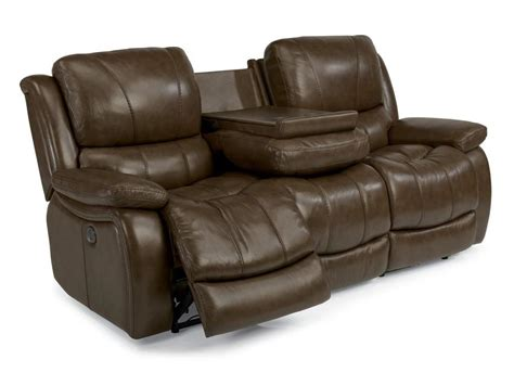 power reclining sofa leather flexsteel living room leather power reclining sofa 1343