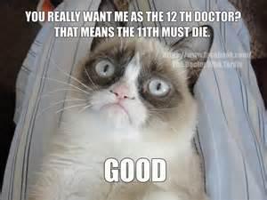 Doctor Who Cat Meme - grumpy cat as the 12th doctor nooooooooooooooo