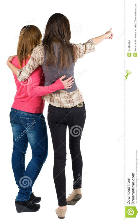 ladies back side images back view of two young woman royalty free stock image