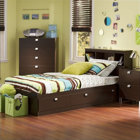 bedroom set with bookcase headboard south shore cakao mates twin captain s bed w bookcase