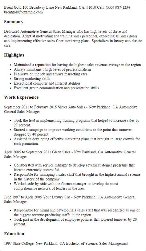 automotive resume sles professional automotive general sales manager templates to