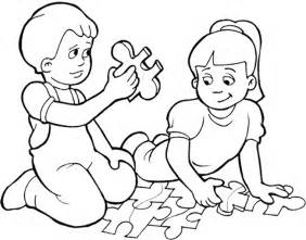 kids playing games puzzle coloring page kids coloring
