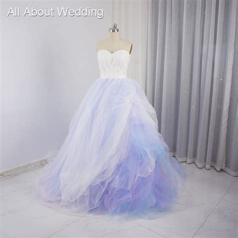 sweetheart colored wedding dresses purple pink blue tulle