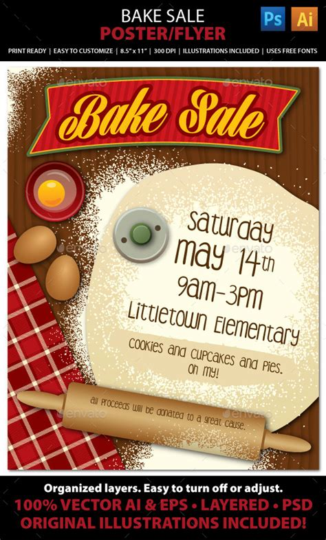 Bake Sale Or Bakery Poster Or Flyer By Juliefelton Graphicriver Baking Portfolio Template