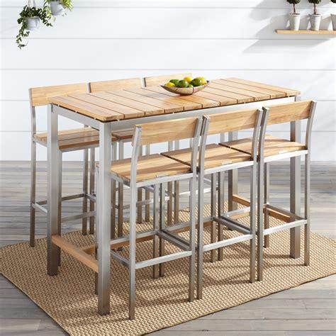 Macon 7 Piece Rectangular Teak Outdoor Bar Table Set