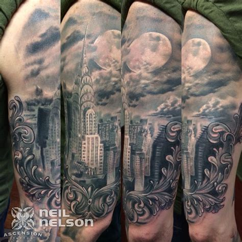 building tattoos the gallery for gt gotham city skyline