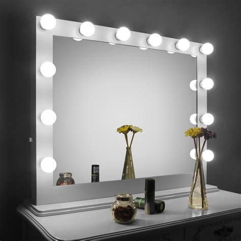 white desk with mirror and lights hollywood makeup vanity hollywood makeup vanity