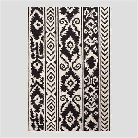 black and white flat weave rug black and white lucine flat woven wool rug world market