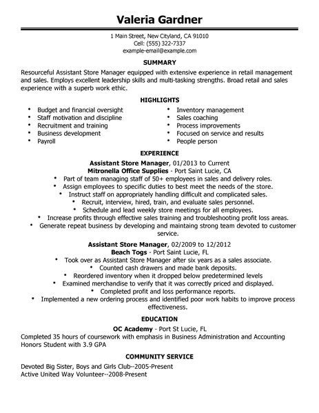 Resume For Retail Store by Best Retail Assistant Store Manager Resume Exle