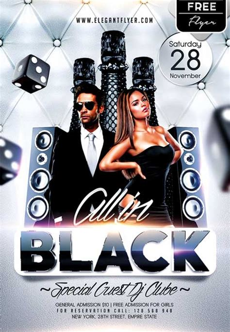 Download All In Black Party Free Psd Flyer Template For Photoshop Psd Black Flyer Template