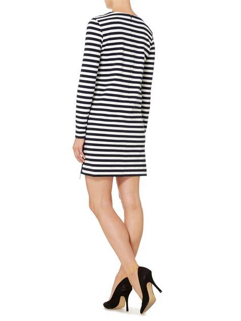 Pakaian Letty Hoodie Stripy White Navy Dress michael kors sleeve zip detail stripe dress in blue navy white lyst