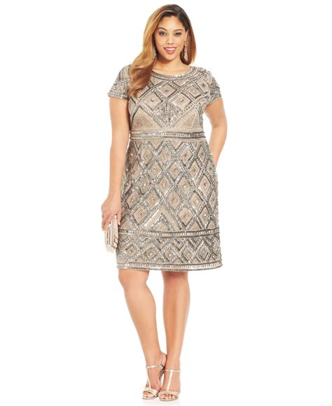 Lyst Adrianna papell Plus Size Short Sleeve Beaded Sheath in Natural
