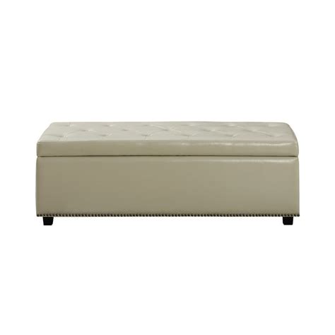 Leather Storage Ottoman Cream Bonded Contemporary Modern Storage Ottoman Bench Seat