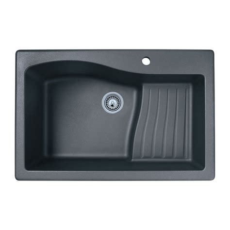 Lowes Undermount Kitchen Sinks Shop Swan Single Basin Drop In Or Undermount Granite Kitchen Sink At Lowes