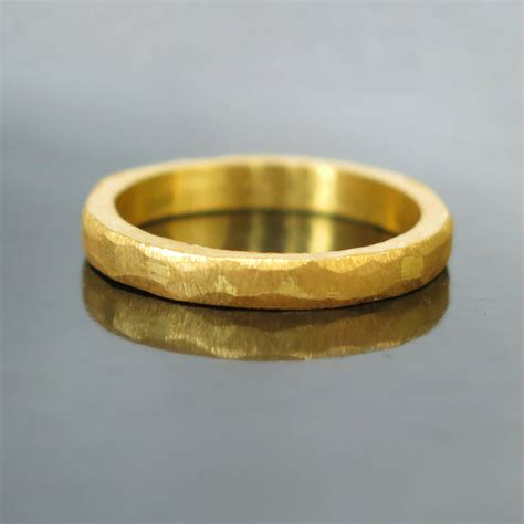 Unique Handmade Wedding Rings - hammered gold wedding band modern gold ring modern wedding